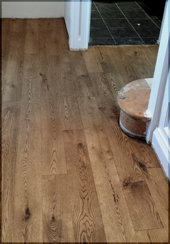 Rustic oak wire brushed, stained and oiled