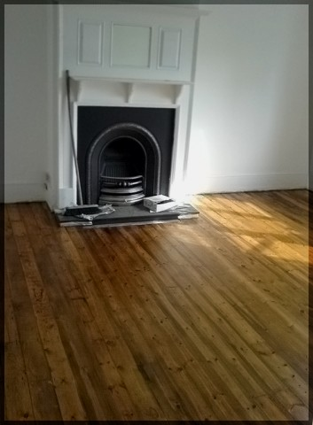 Pine floor sanded and coloured
