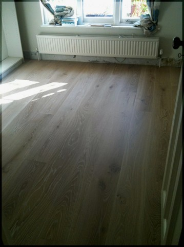 Engineered oak floor brushed, white washed and oiled